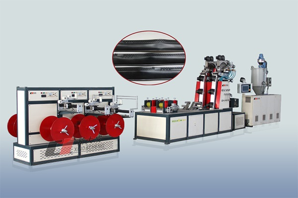 Labyrinth type drip irrigation pipe production line (extrusion 4 tape) Featured Image