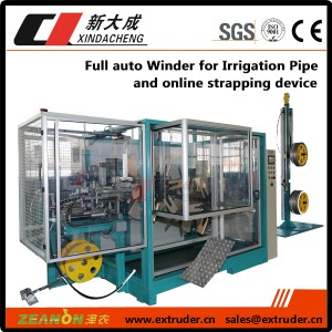Full auto Winder for Irrigation Pipe & online strapping device